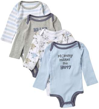 Koala Baby Assorted Long Sleeve Bodysuits - Pack of 4 (Baby Boys 0-9M)