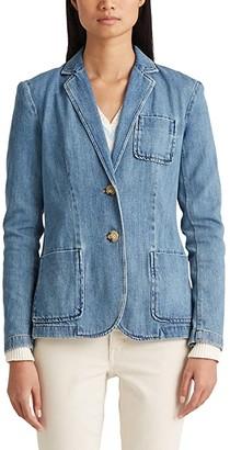 Lauren Ralph Lauren Cotton Denim Blazer (Light Authentic Wash) Women's Clothing