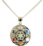 Simplicity Multi Gemstone Chakra Round Shape Pendant Necklace W/ Chain