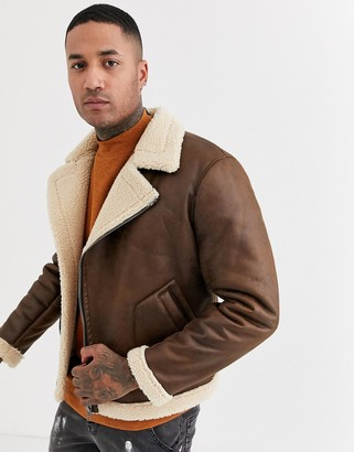ONLY & SONS faux shearling aviator jacket in tan