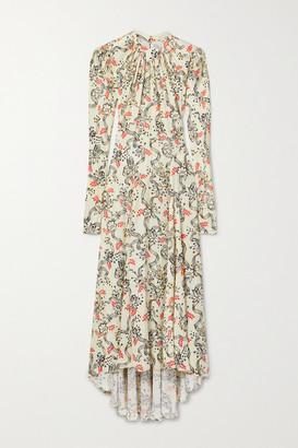 Paco Rabanne Gathered Printed Satin Maxi Dress - Beige
