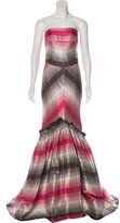 Carolina Herrera Silk Striped Gown