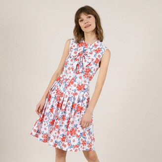 Molly Bracken Printed Cotton Mini Dress with Tie-Neck and Fitted Waist