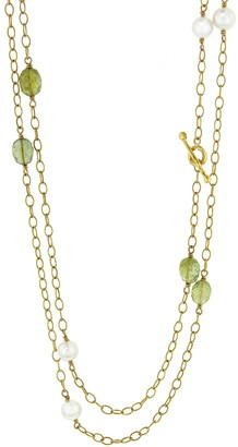Cathy Waterman Peridot and Pearl Wire Wrap Necklace