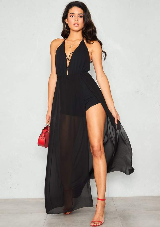 d78cdbdce66 Stella Black Lace Up Maxi Overlay Playsuit