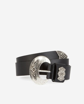 The Kooples Black leather belt with silver buckle