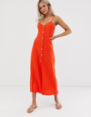 Asos Design DESIGN maxi slubby cami swing dress with faux wood buttons-Red