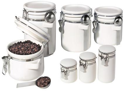 Oggi Ceramic Canister White 7Pc Set