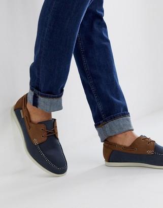 Ben Sherman leather boat shoe in navy/tan