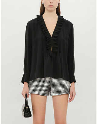 Sandro Andi frilled silk blouse