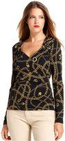 MICHAEL Michael Kors Top, Long-Sleeve Printed Zippered