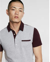 Express stretch color block textured polo shirt