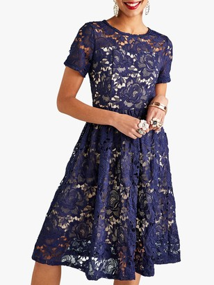 Yumi Curves Yumi Lace Overlay Party Dress, Navy