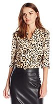 Vince Camuto Women's Long Sleeve Animal Estate Button Front Blouse