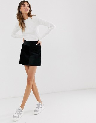 Monki cord A-line mini skirt in black