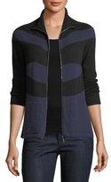 Armani Collezioni Zip-Front Striped Cashmere Cardigan