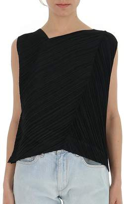 Pleats Please Issey Miyake Contrasting Panelled Asymmetric Blouse
