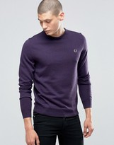 Fred Perry Sweater With Crew Neck In Blackcurrant Marl