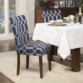HomePop Navy Blue Cream Lattice Elegance Parson Chairs (Set of 2)