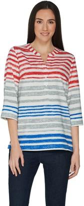 Denim & Co. Watercolor Stripe 3/4 Sleeve Pullover Y-Neck Top