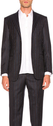 Cobra S.C. Notch Lapel Blazer in Navy Pinstripe | FWRD