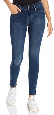 Frame Le Skinny De Jeanne Slit Rivet Raw-Edge Jeans in Fayette