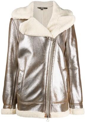 Gianfranco Ferré Pre Owned 1990s Metallic Sheen Shearling-Lined Jacket