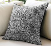 Wool Jacquard Pillow Cover - Black