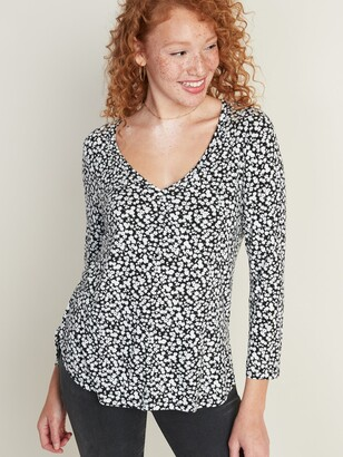 Old Navy Luxe Floral V-Neck Top for Women