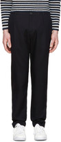 Raf Simons Navy Tonal Grid Trousers