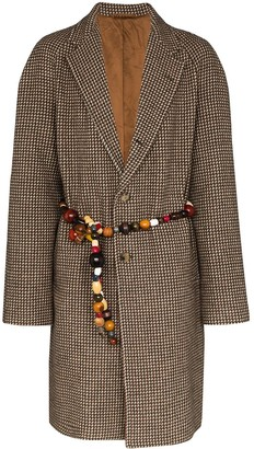 Bode beaded belt single-breasted coat