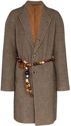 Bode beaded belt single-breasted coat