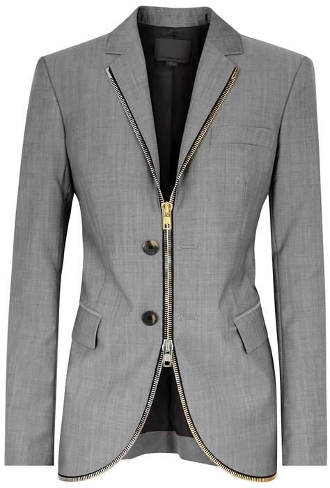 Alexander Wang Grey Zipped Wool-blend Blazer