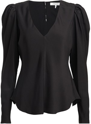 Frame Shirred Silk Crepe Blouse