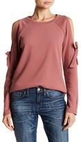 Cable & Gauge Cold Shoulder Bow Sweatshirt