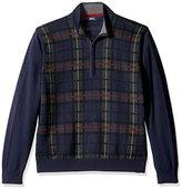 Izod Men's Plaid 1/4 Zip Sweater