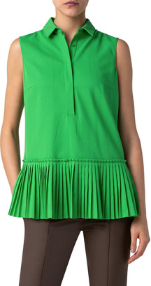 Akris Punto Sleeveless Pleated-Hem Blouse