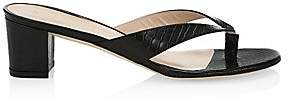 Stuart Weitzman Women's Brigida Croc-Embossed Leather Thong Sandals