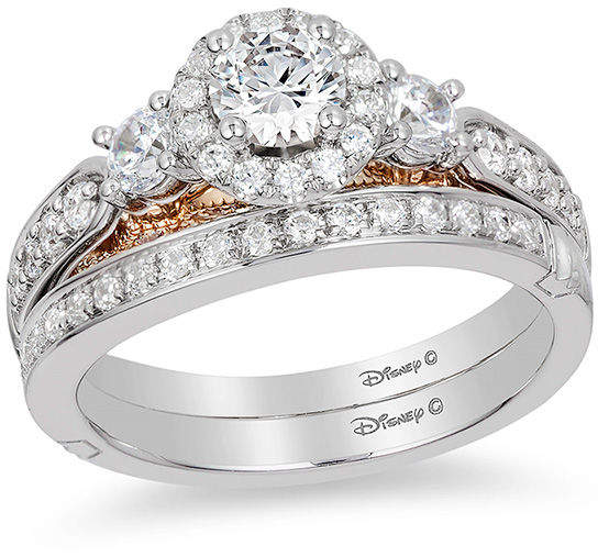 zales enchanted disney jasmine 1 ct tw diamond three stone engagement ring in 14k white - Wedding Rings Zales