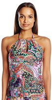 Kenneth Cole Reaction Women's Gypsy Gem Paisley Keyhole High Neck Tankini with Adjustable Ties
