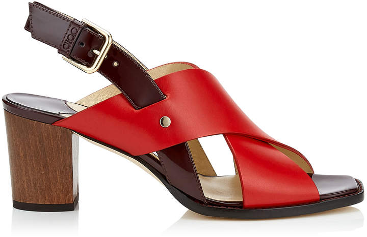 Jimmy Choo AIX 65 Red Mix Vachetta Leather and Patent Strap Sandal