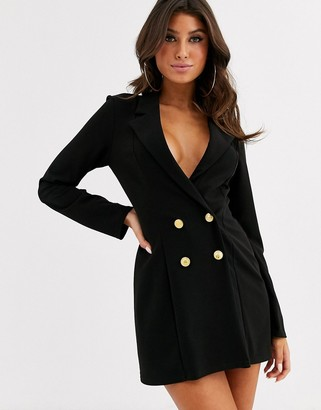 Asos Design DESIGN glam double breasted jersey blazer-Black