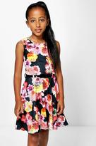 Boohoo Girls Floral Print Belted Dress