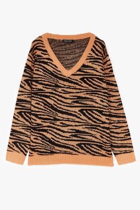 Nasty Gal Womens Herd You Callin' Plus Knit Zebra Sweater - Camel