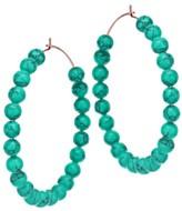 ginette_ny Maria 18K Rose Gold & Turquoise Beaded Hoop Earrings