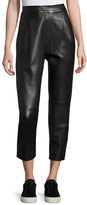 Vince Leather Single-Pleat Cropped Pants, Black