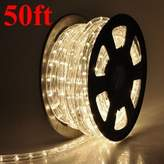 Warm White 2 Wire Decorative Outdoor Home Indoor Cuttable 50ft LED Rope Light