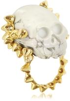 Forzieri Bernard Delettrez Golden Studs with Marble Skull Ring