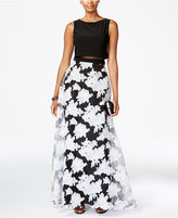 Betsy & Adam Illusion Floral-Print Popover Gown