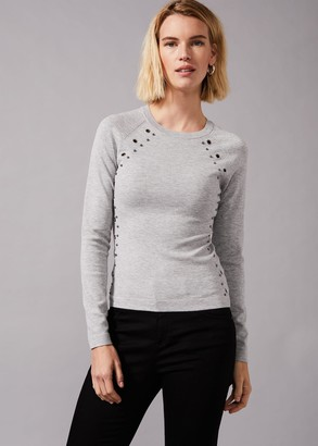 Phase Eight Eva Eyelet Embellished Knit Jumper